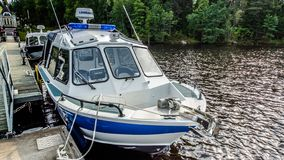 Boats of the island of Valaam, Valaam, 02.08.2018. The Northern part of lake Ladoga. Republic of Karelia. Russian Federation. stock images
