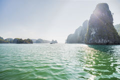 Boats and Islands in Halong Bay, Northern Vietnam Royalty Free Stock Photography