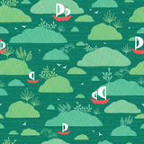 Boats among islands seamless pattern background Stock Photos