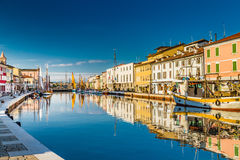 boats on Italian Canal Port royalty free stock photos