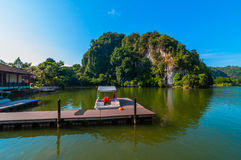 Boats jetty Lang Mountain recreational park. This park located near ipoh, perak, malaysia Stock Photo