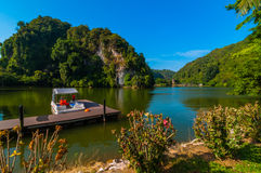 Boats jetty Lang recreational park. This park located near ipoh, perak, malaysia royalty free stock photos