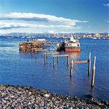 Boats and jetty, Ushuaia, Argentina Stock Photo