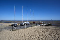 Boats on Jubilee Beach, Southend-on-Sea, Essex, England Stock Photography