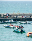 Boats judges in competitions in sailing in Pomorie Stock Image