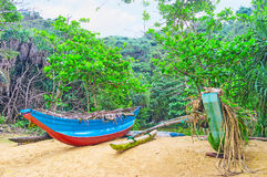 The boats in jungle. The Jungle beach is famous among the tourists and local fishermen, living the boats here, Unawatuna, Sri Lanka royalty free stock photos