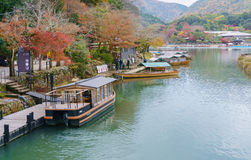 Boats on the Katsura river. Stock Images