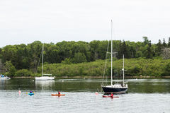 Boats and Kayaks in Baddeck Royalty Free Stock Photo