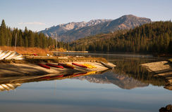 Boats Kayaks Ducks Wildlife Fisherman Hume Lake Kings Canyon Stock Photos