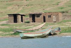 Boats at the Kazinga Channel Stock Photos