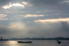 Boats on Khong river in the morning ,Chiangrai ,Thailand Stock Photos