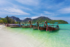 Boats On Koh Phi Phi Thailand stock photography