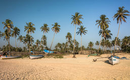 Boats at kolava beach goa Royalty Free Stock Images
