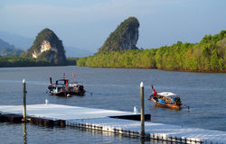 Boats in Krabi town, Thailand Royalty Free Stock Images