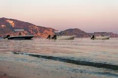 Boats in the Laganas bay at dusk Royalty Free Stock Image