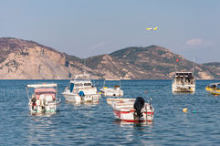 Boats in the Laganas Bay. On Zakynthos Island, Greece royalty free stock photography