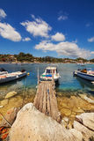 Boats in Laganas harbor on Zakynthos island Royalty Free Stock Images