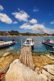 Boats in Laganas harbor on Zakynthos island Royalty Free Stock Images