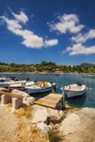 Boats in Laganas harbor on Zakynthos island Stock Images