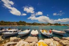 Boats in Laganas harbor on Zakynthos island Royalty Free Stock Image