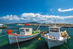 Boats in Laganas port. Small fishermen boats and speed and fast private motorboats moored in the Laganas port, Zante Island, Greece stock photo