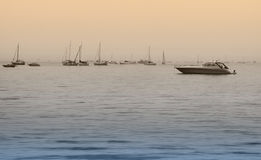 Boats on the Lake. Sunset  skyline Stock Photography