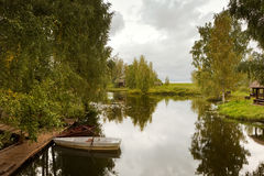 Boats on lake. Boats on tranquil lake, Kostroma, Russia Stock Image