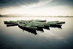 Boats in lake. Some boats on the west lake in hangzhou stock images