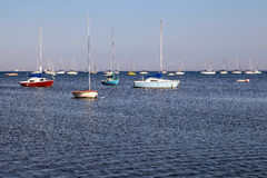 Boats on the lake. The view of the boats on the lake. Lake Erie, Ontario Stock Images