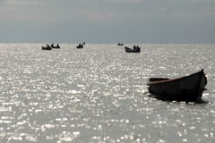 Boats on Lake Albert Stock Photography