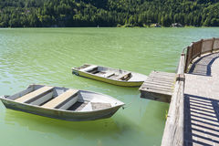 Boats on Lake of Alleghe Stock Image