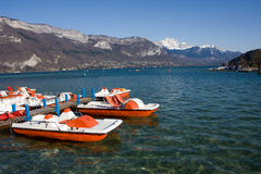 Boats in Annecy lake, France Stock Image