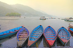 Boats on a lake in Asia Royalty Free Stock Images
