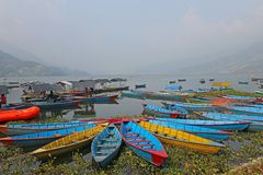 Boats on a lake in Asia Stock Photography