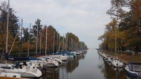 Boats at the lake Balaton in autumn stock photo