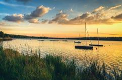 Boats in lake. Stock Photo