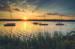 Boats in lake. Stock Photos