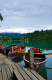 Boats from Lake Bled, Slovenia. Stock Images