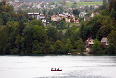 Boats at the Lake Bled, Slovenia. Stock Images