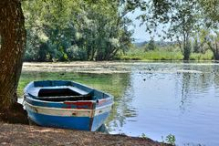 Boats in the lake Fibreno Stock Photos