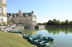 Boats on Lake fontainebleau. The lake of the Fontainebleau forest and moored boats Royalty Free Stock Images