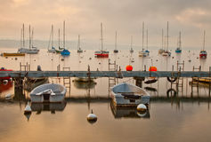 Boats at Lake Geneva Royalty Free Stock Images