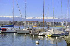 Boats in Lake Geneva, in Geneva Switzerland Royalty Free Stock Photography
