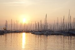Boats on Lake Geneva; Lausanne Royalty Free Stock Photography