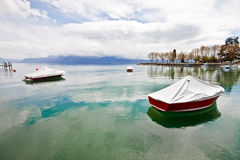 Boats at Lake Geneva, Lausanne, Switzerland Royalty Free Stock Image