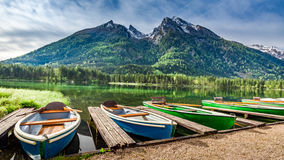 Boats on the lake Hintersee in the Alps Stock Photo