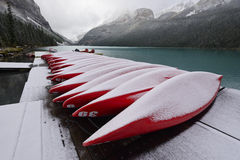 Boats and Lake Louise Stock Photo