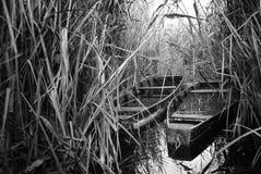 Boats on lake. Nostalgic image of a empty fishing boats on a lake Royalty Free Stock Images