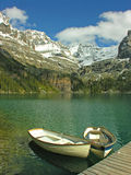 Boats on Lake O'hara, Yoho National Park Royalty Free Stock Photo
