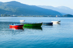 Boats on Lake Ohrid Stock Photography